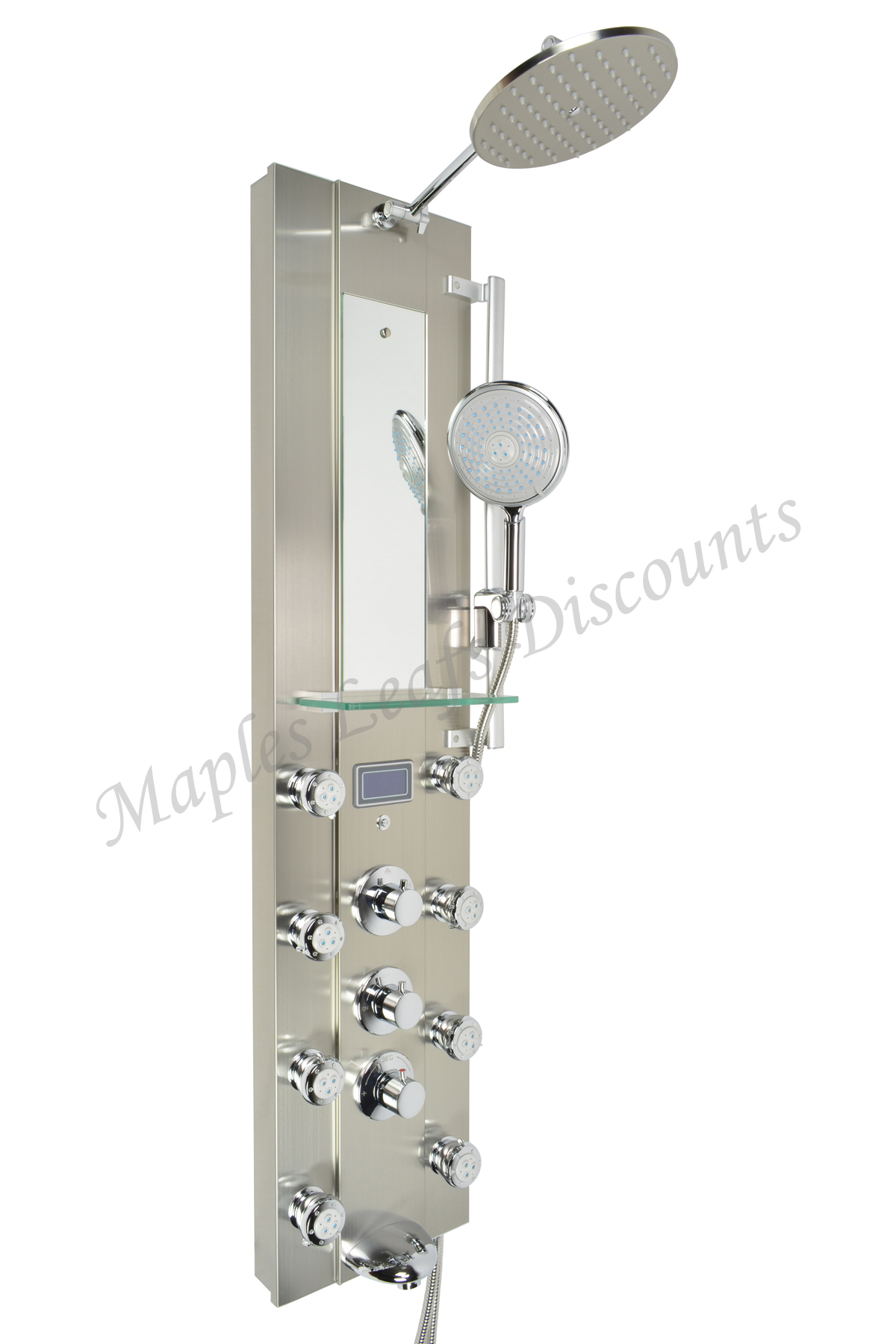 Thermostatic rainfall style body jets stainless steel for Shower tower with body jets